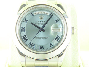 "Rolex Day Date II President 41 mm Platinum Ice Blue ""V"" Series 218206"