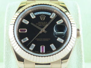 "Rolex Day Date II President 18 ct. Rose Gold 41 mm Diamond and Ruby Hour Markers ""Alphanumeric"" Series 218235"