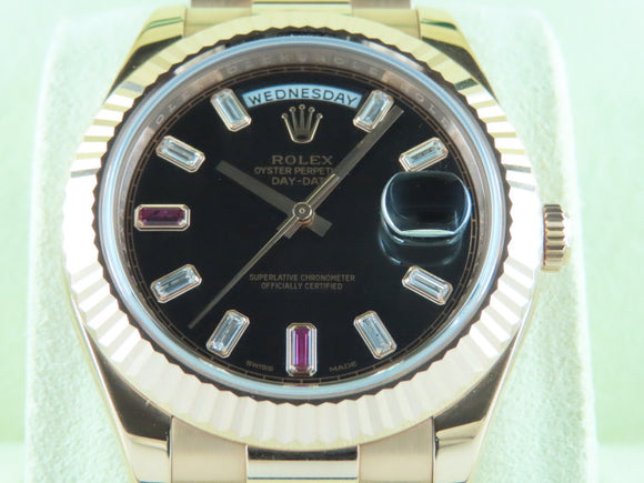 Rolex Day Date II President 18 ct. Rose Gold 41 mm Diamond and Ruby Hour Markers