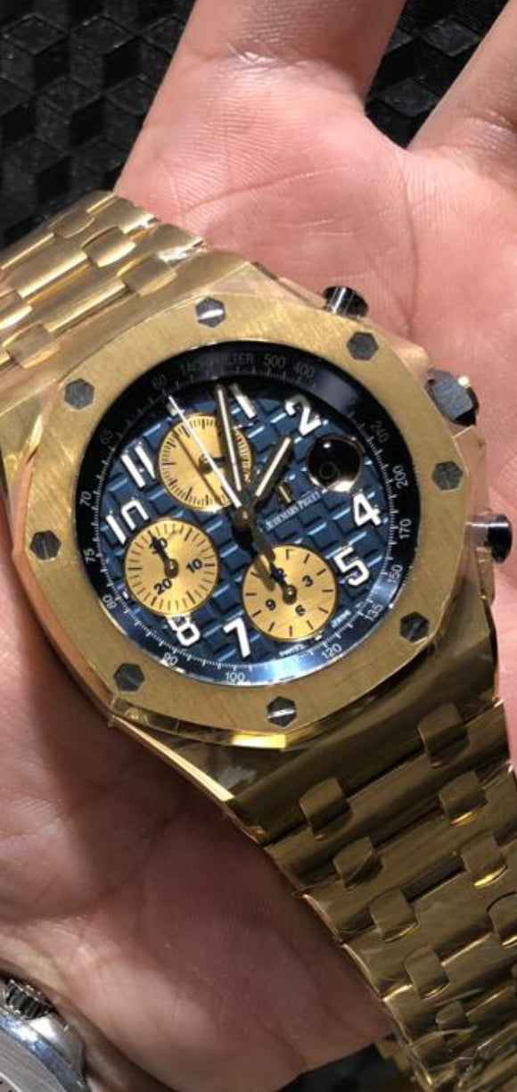 Audemars Piguet Royal Oak Offshore Chronograph 18 ct. Yellow Gold Blue Dial Boutique Only Edition 26470BA.OO.1000BA.01