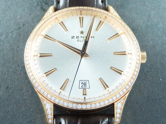 Zenith Elite Captain Central Seconds Automatic 18 ct. Rose Gold Factory Original Diamonds 40 mm