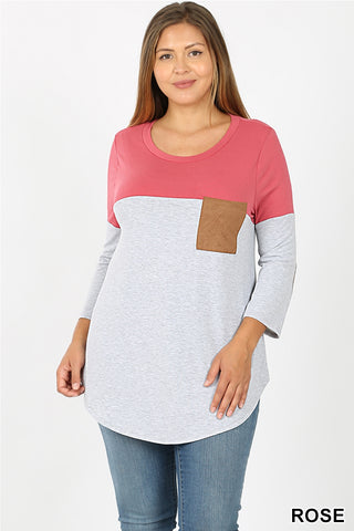 color block tee with elbow patches