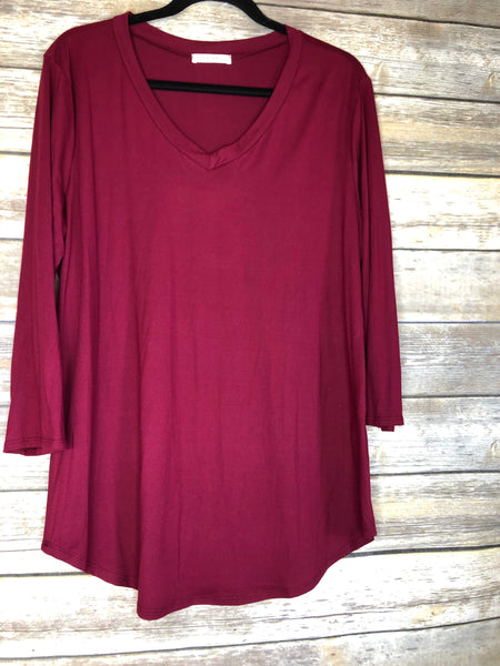 buttery soft 3/4 sleeve v neck tees