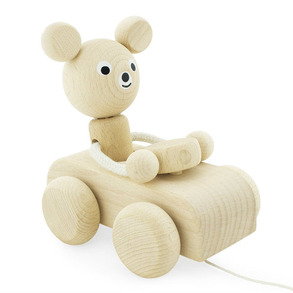 Wooden Pull Along Bear In Car - Teddy Play