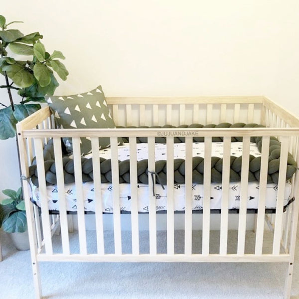 Braided Crib Bumper - Solid Colour