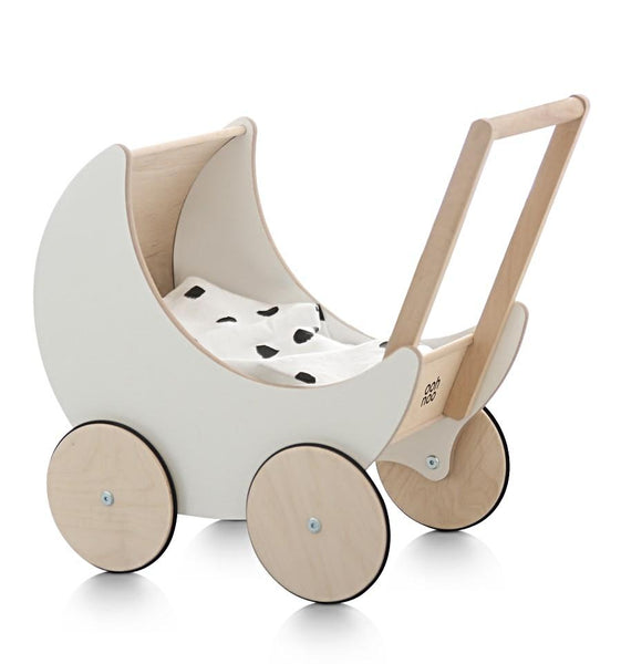 Wooden Toy Pram- White