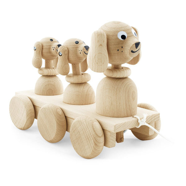 Wooden Pull Along Dog Family Play