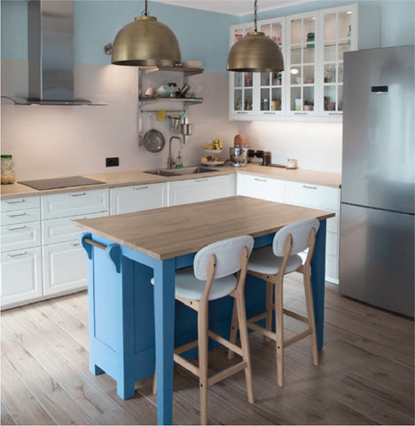 Blue kitchen featuring monochromatic colours. Learn more at Harris Paints