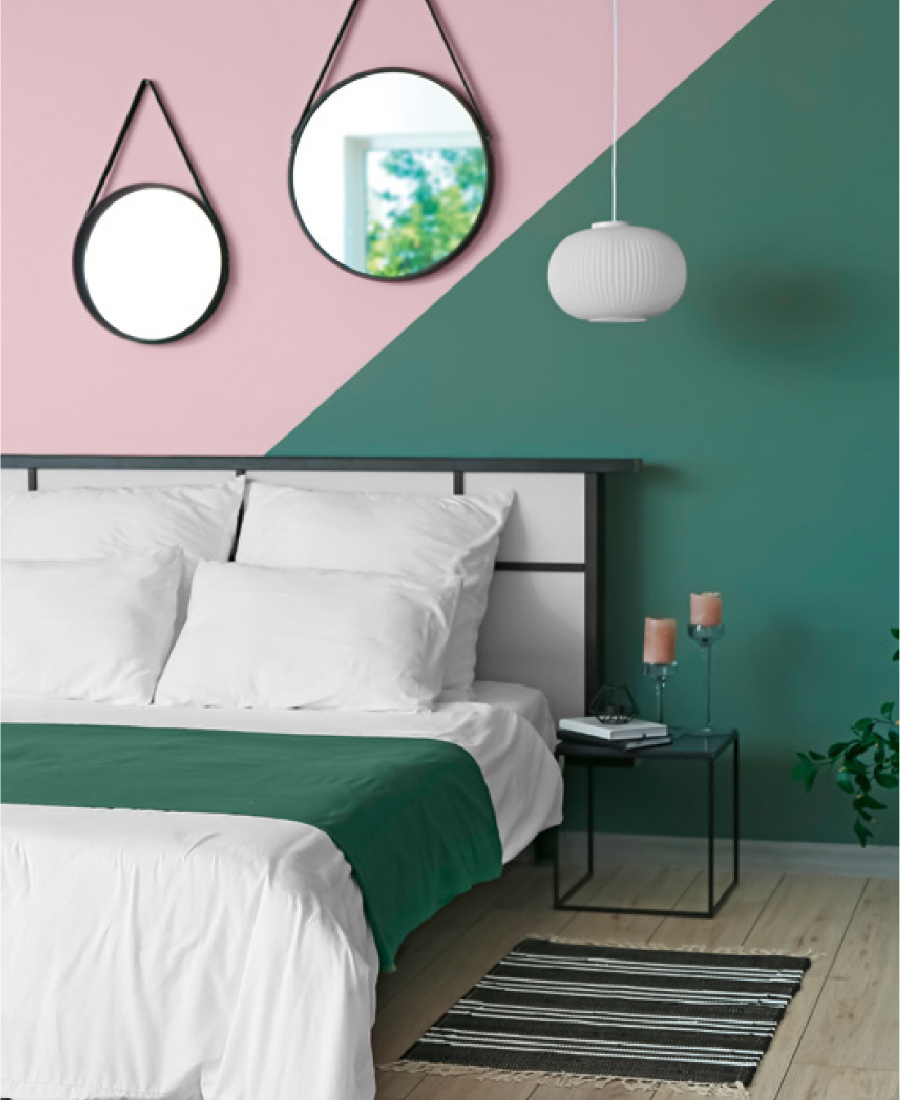 Deco Pink 1141 and Arizona Stone 0697 used together in a bedroom. Available at Harris Paints and BH Paints in the Caribbean. Your Champions of Colour.