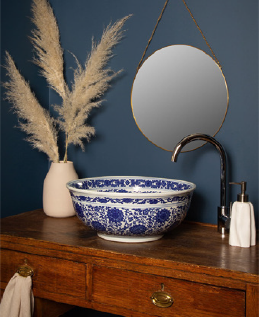Using eclectic pieces like this wash basin can add colour and pattern to your washroom. More tips in Inspiring Colour magazine by Harris Paints in the Caribbean.