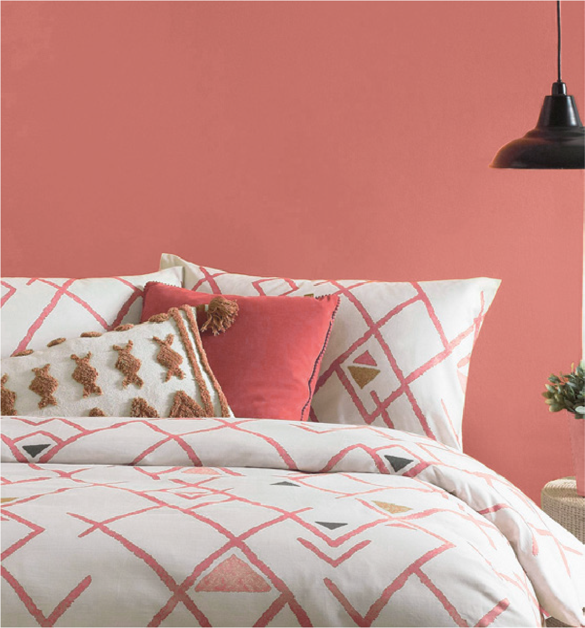 Marble Pink 0057 in a bedroom or as an accent colour in Inspiring Colour 2021 Magazine by Harris Paints.