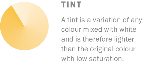 Tint is a variation of any colour. Learn more colour terminology at Harris Paints.
