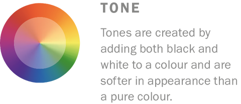 Tones are created by adding both black and white to a colour. Learn more colour theory at Harris Paints.