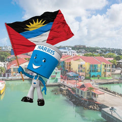 scenic image of Antigua docks with Harris Paints little blue with Antigua flag
