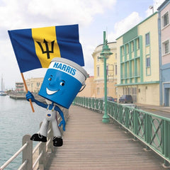 scenic image of Barbados board walk with Harris Paints little blue man holding Barbados flag