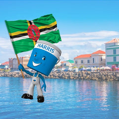 scenic image of Dominica shoreline with Harris Paints little blue man holding Dominica flag