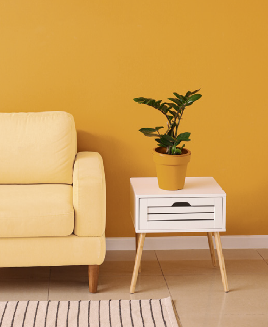 Use Lemon Poppy 0927 on walls with soft furnishings for a bold pop. Buy at Harris Paints or BH Paints in the Caribbean.