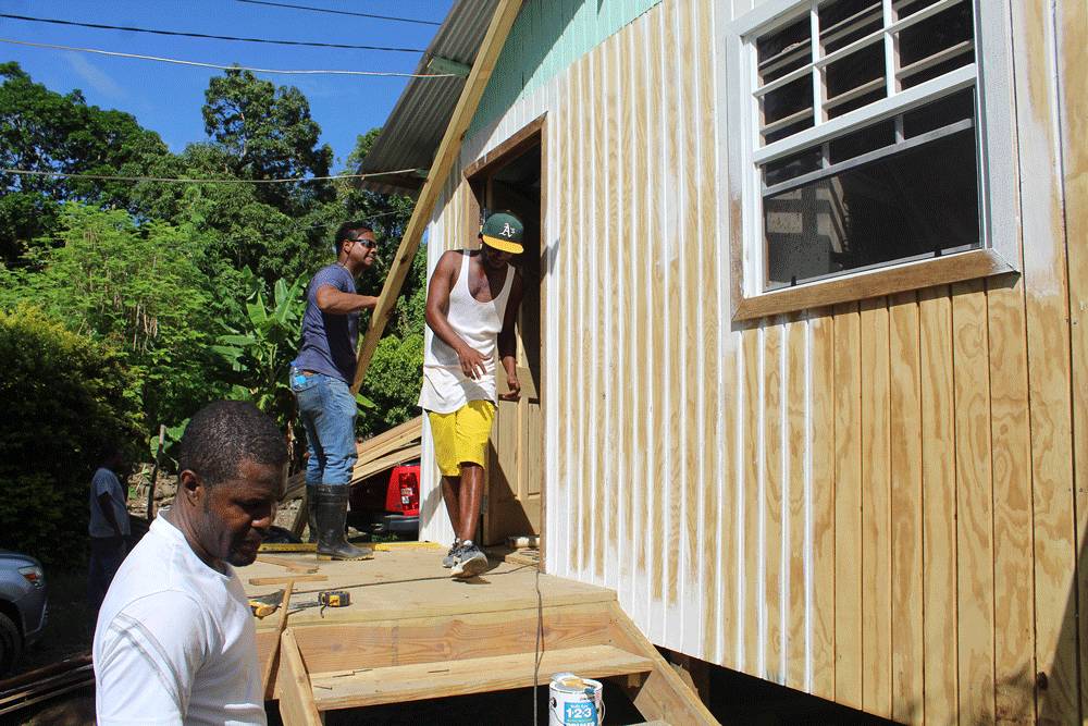 Exterior of Michael Anthony's home being renovated in St Lucia.