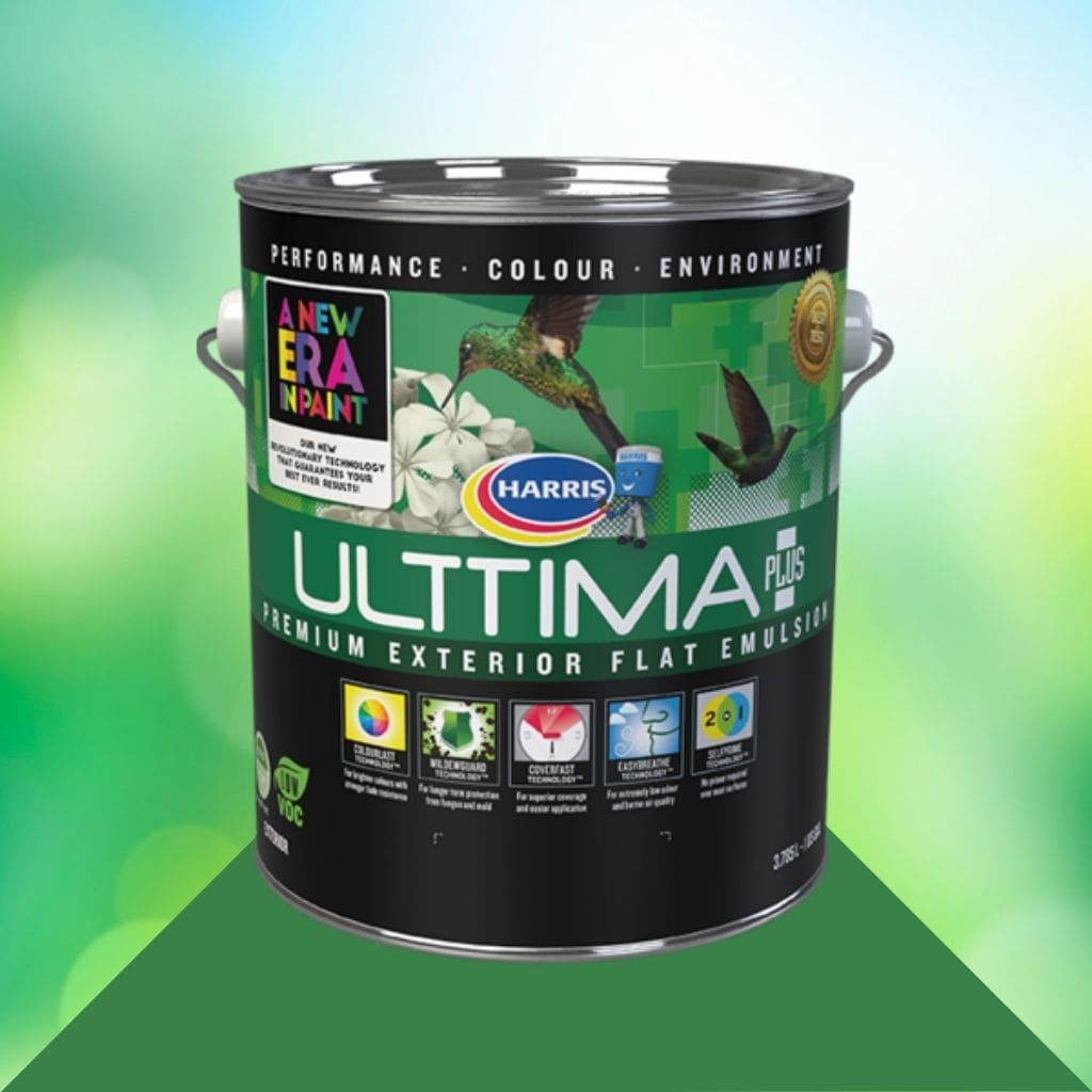 gallon of Harris Paint's New Era Ulttima + Paint in Exterior flat on a green abstract background