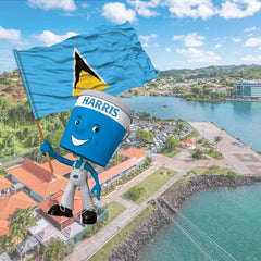 scenic image of St.Lucia shoreline with Harris Paints little blue man holding St. Lucia flag