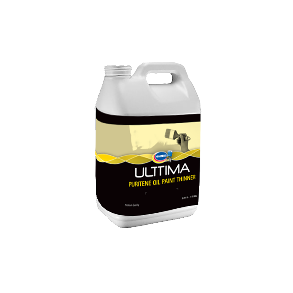 Ulttima Puritene Oil Paint Thinner, available at Harris Paints and BH Paints in the Caribbean.