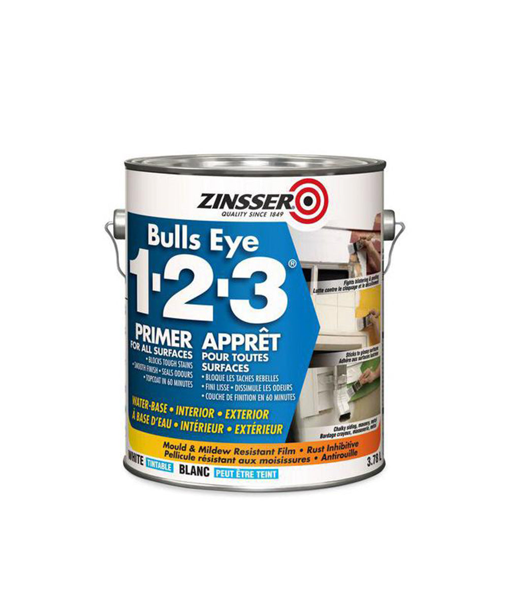 Rustoleum Zinsser Bulls Eye 123 Primer, available at Harris Paints in the Caribbean.