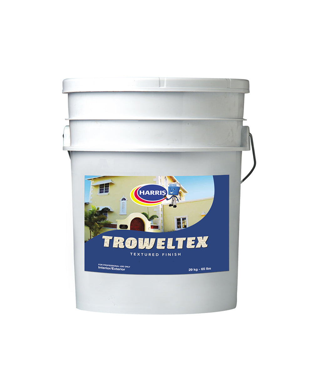 Harris Troweltex textured finish, available at Harris Paints in the Caribbean.