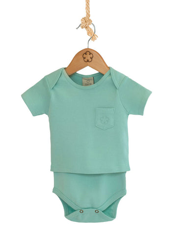Body T-shirt - manga curta [Organics] - Verde Peppermint - babytisco