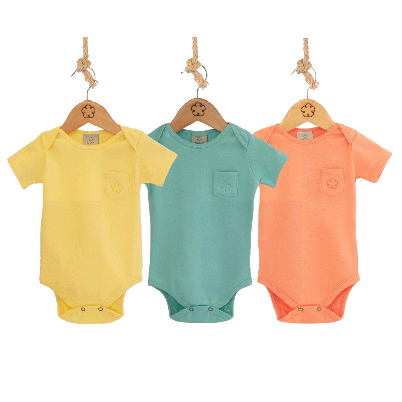 Kit CANDY COLORS - Body 24-7 manga curta [Organics] - babytisco