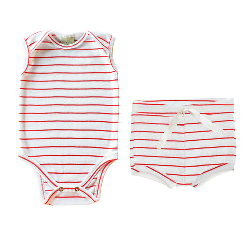 Kit Stripes - Body 24-7 regata + Short tapa-fraldas Comfy - Vermelho Chilli