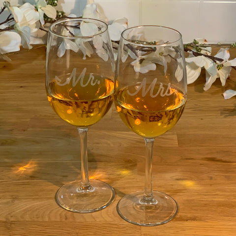 Mr + Mrs Wine Glasses