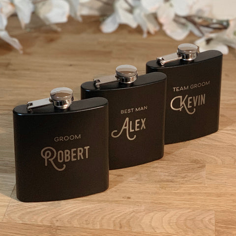 Team Groom Flask Set