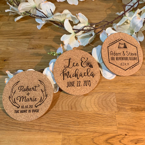 Wedding Favor Cork Coasters