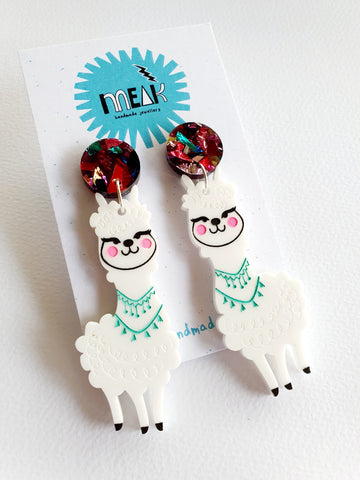 Llama Alpaca Dangle Earrings - Meak Handmade