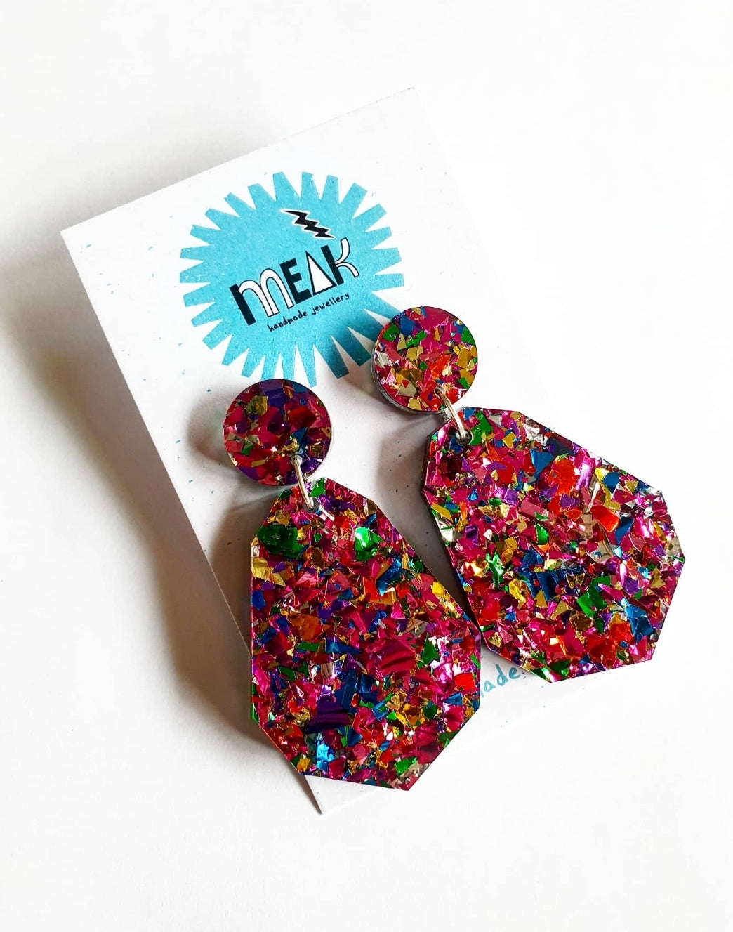 Geo cut glitter dangle drops - Meak Handmade
