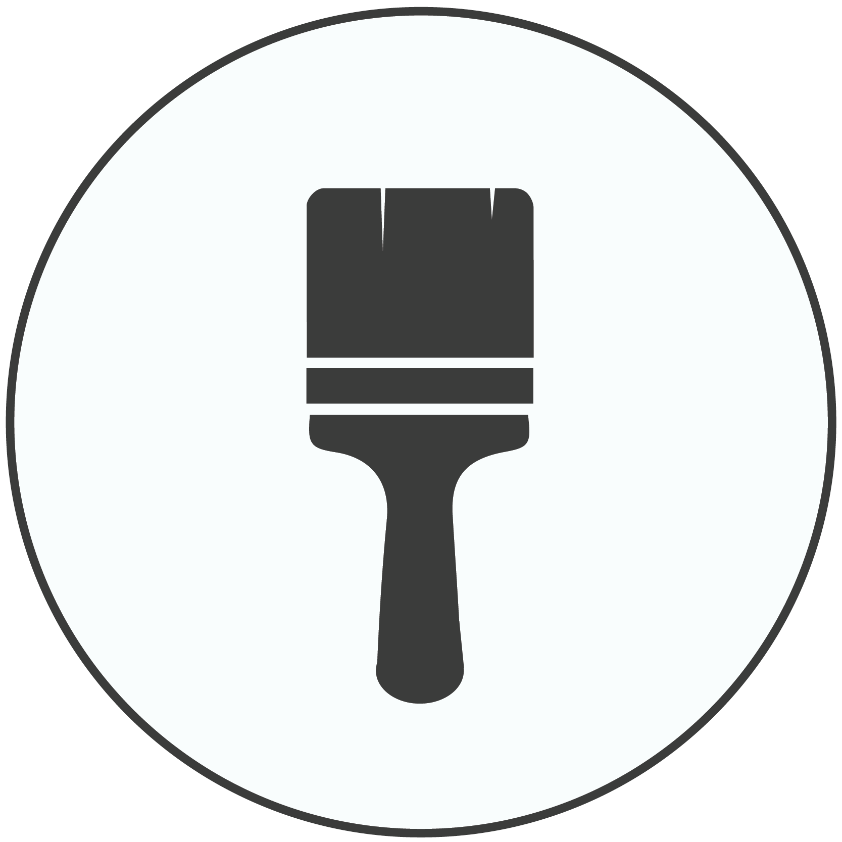 Gray icon of a paint brush
