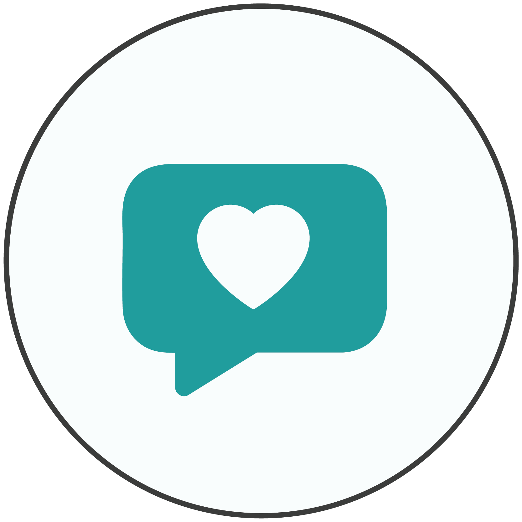 Teal icon of a speech bubble with a heart