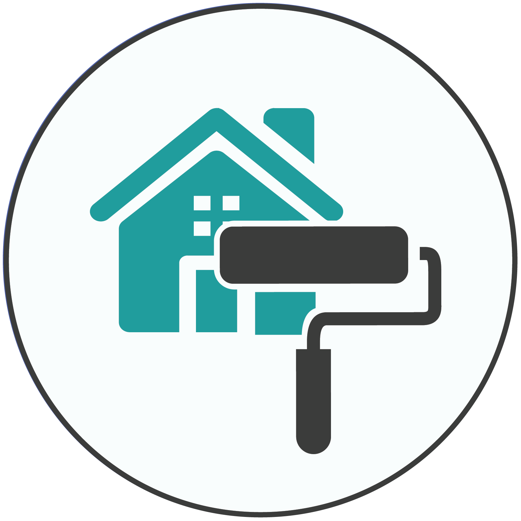 Teal icon of a house with a gray paint roller frame in front of it