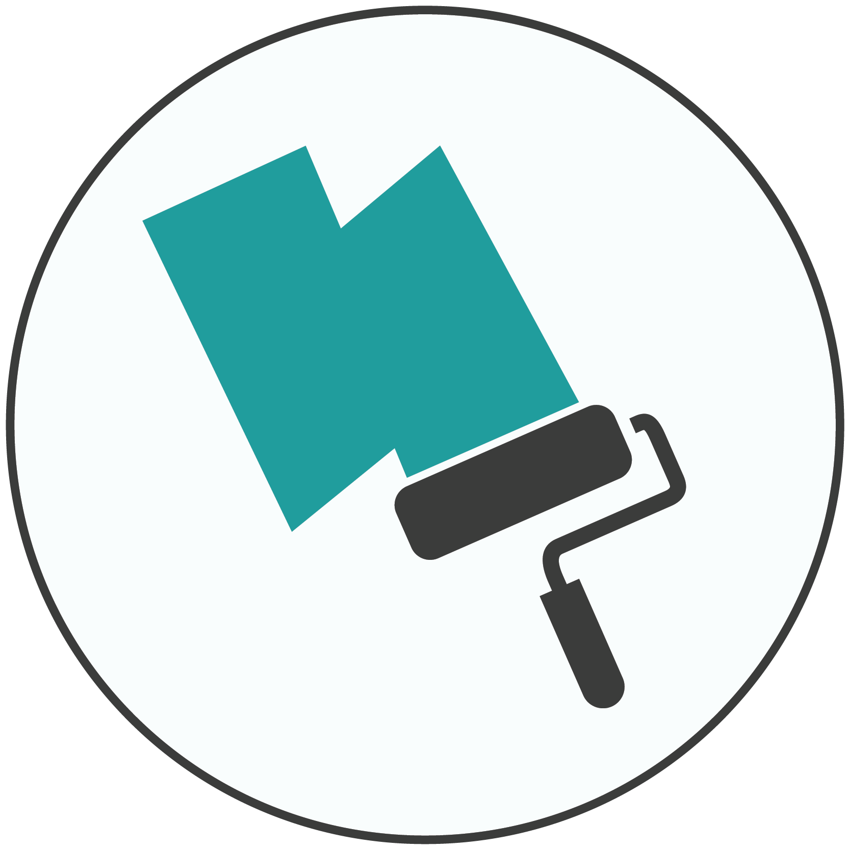 Teal and gray icon of a paint roller and primer