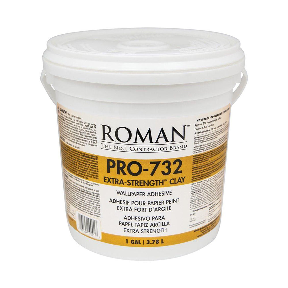 Pro 732 extra strength clay wallpaper adhesive, available at Wallauer's in NY.