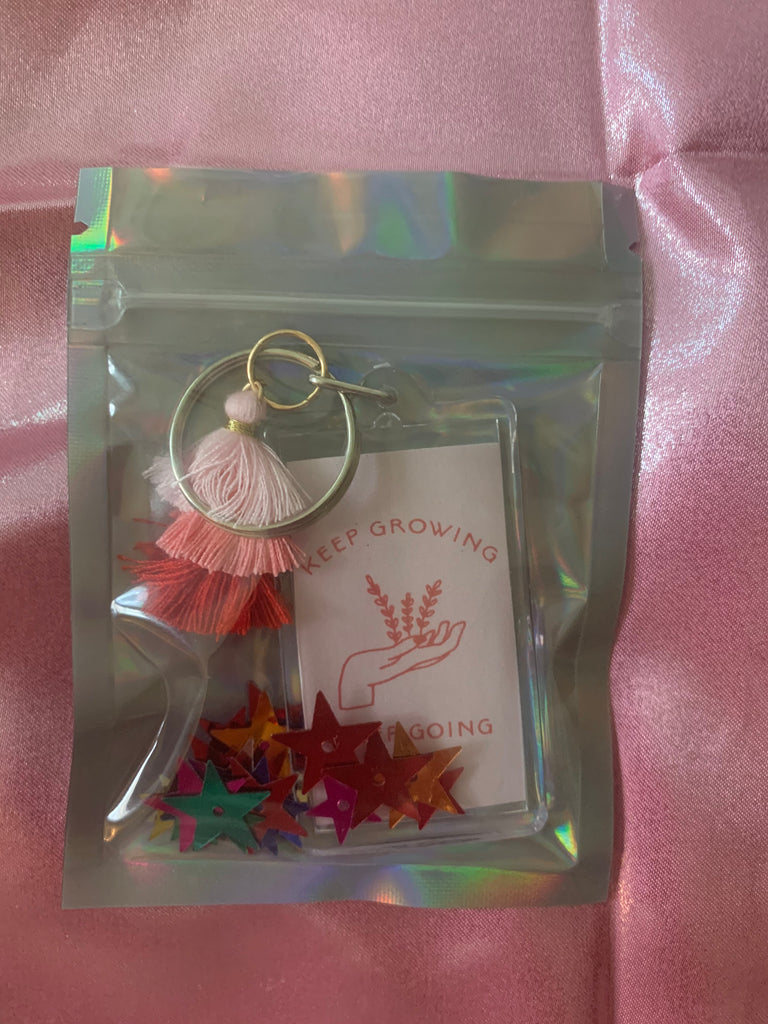 Keep Growing Keep Going Pink Keychain With Tassel