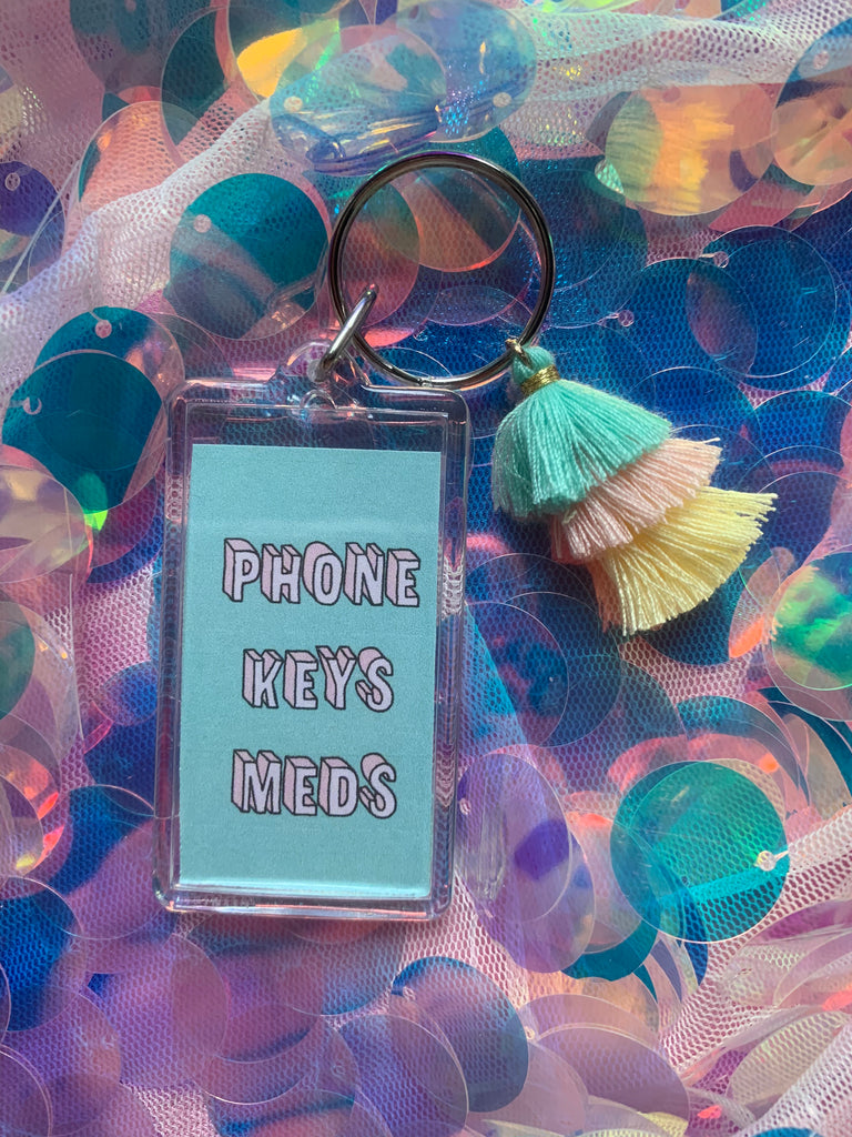 Phone Keys Meds Keychain With Tassel