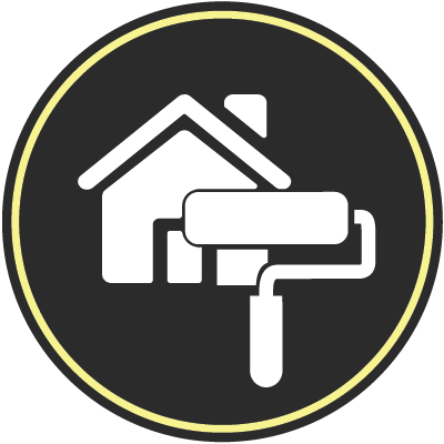 Exterior house with paint roller icon