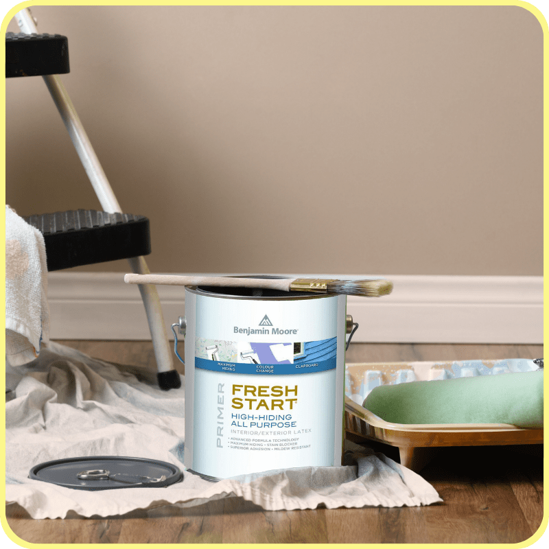 Gallon of Benjamin Moore fresh start primer with step stool, drop cloth, paint brush, roller, tray, liner and drop cloth.