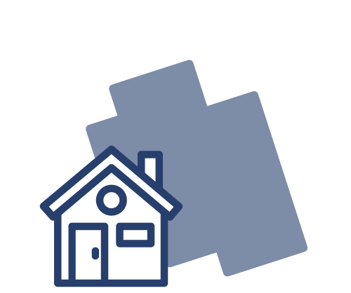 blue icon of house with paint in the background