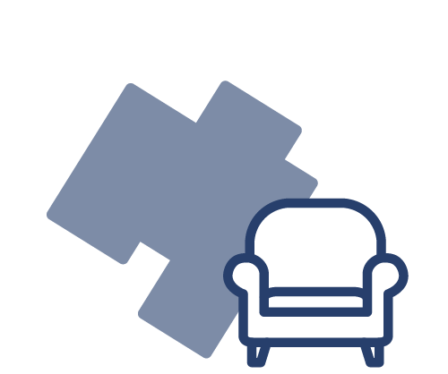 blue icon of chair with paint on the wall