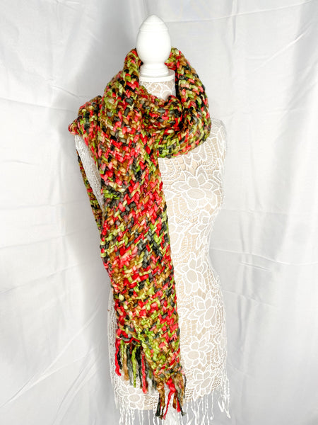 Loom Woven Scarf — Green/Red