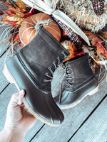 Brushed Leather Duck Boots