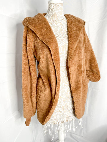 Oversized Hooded Plush Faux Fur Jacket — Camel