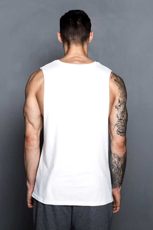 White TLK99 Muscle Shirt - Turlock & Co.